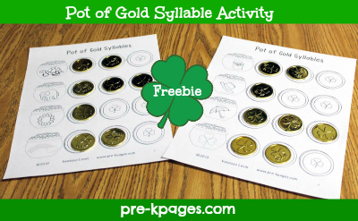 Free Printable St. Patrick's Day Syllable Activity for preschool and kindergarten via www.pre-kpages.com