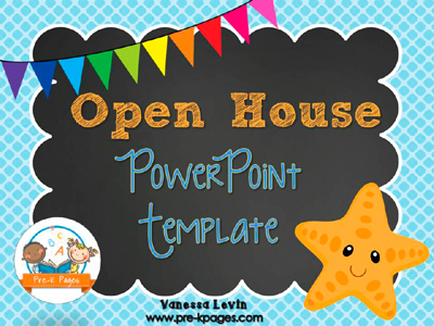 Starfish Open House PowerPoint Template for #preschool and #kindergarten Add Your Own Text!