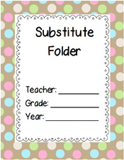 Free Printable Substitute Folder Cover- Brown Polka Dots via www.pre-kpages.com
