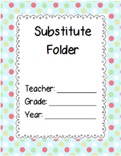 Free Printable Substitute Folder Cover- Pink Green Polka Dots via www.pre-kpages.com