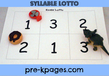 Free Syllable Lotto Game Board for Preschool and Kindergarten via www.pre-kpages.com