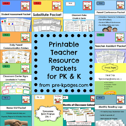 Pre-K Preschool and Kindergarten Printables