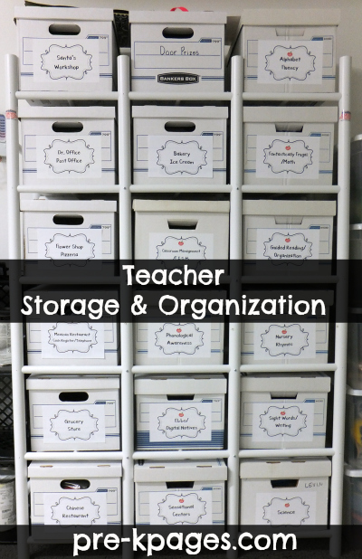 PVC storage and organization shelf for teachers via www.pre-kpages.com