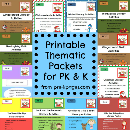 Printable thematic literacy and math packets for pre-k and kindergarten via www.pre-kpages.com