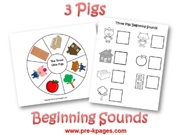 Beginning sound activity for the story of The Three Little Pigs