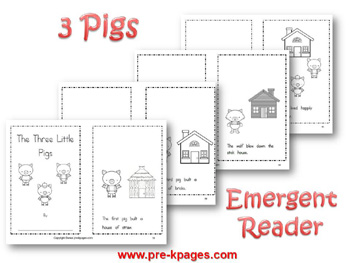 Printable emergent reader for the story of The Three Little Pigs