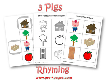 Three Little Pigs rhyming activity