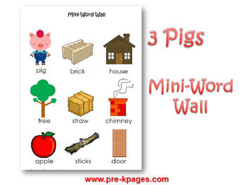Three Little Pigs mini word wall