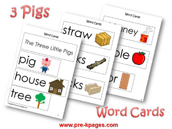 The Three Little Pigs word cards