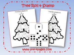 christmas tree roll and stamp game