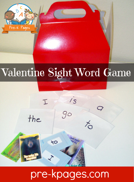 Valentine Card Sight Word Activity for Kindergarten