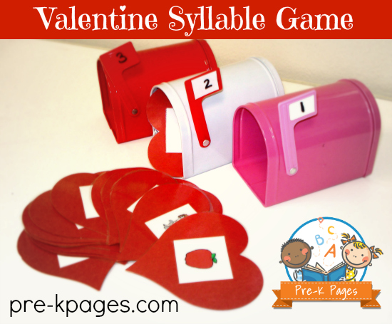 Valentine Syllable Game for Preschool or Kindergarten