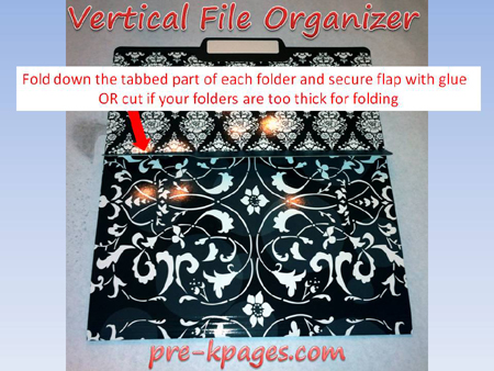 vertical file folder organizer tutorial step 2