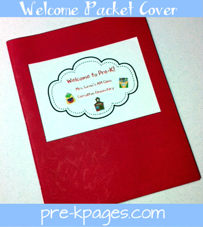 Free printable cover page for welcome to school packet via www.pre-kpages.com