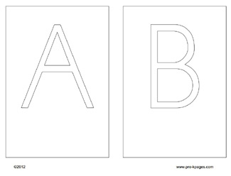 Free Uppercase Alphabet Cards for use with wax string via www.pre-kpages.com