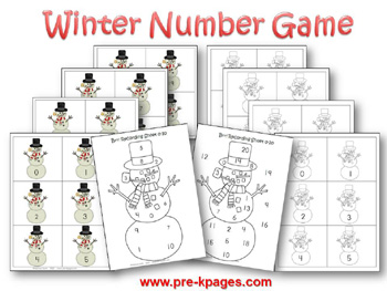 Winter Number Identification Game via www.pre-kpages.com