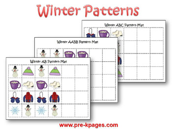 Printable Winter Patterning Activity via www.pre-kpages.com