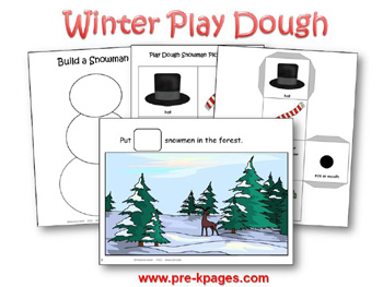 Printable Play Dough Snowman Math Mats via www.pre-kpages.com
