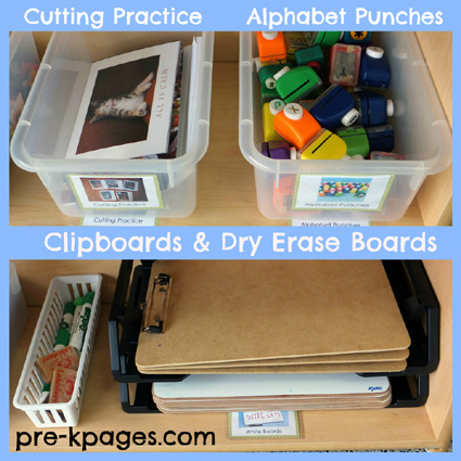 Writing Center Materials in a Pre-K or Kindergarten Classroom via www.pre-kpages.com