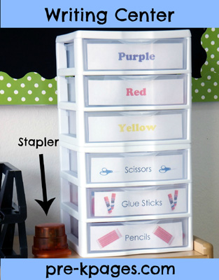 Writing Center Materials in Preschool or Kindergarten via www.pre-kpages.com