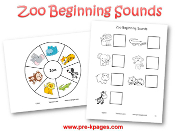 Printable Zoo Beginning Sounds Activity for pre-k and kindergarten