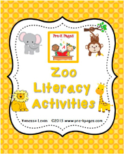 Zoo Literacy Packet for #preschool and #kindergarten