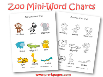 Printable Zoo Mini Word Charts for pre-k and kindergarten