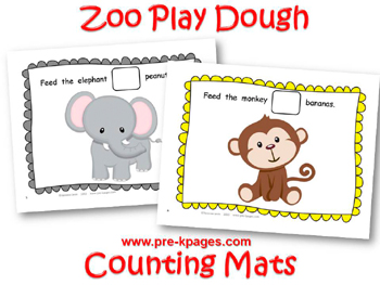 Printable Zoo Play Dough Counting Mats for preschool and kindergarten