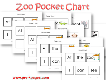 Printable Zoo Pocket Chart Sentences for pre-k and kindergarten