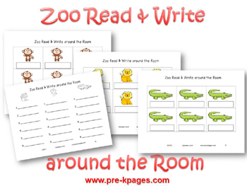 Zoo Read and Write Around the Room Printable Activity for pre-k and kindergarten