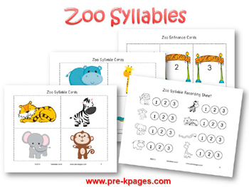 Printable Zoo Syllable Activity for pre-k and kindergarten