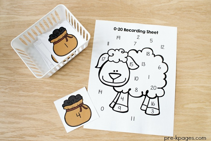 Printable Baa Baa Black Sheep Number Game for Preschool Numeral Recognition