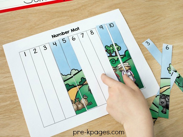 Printable Baa Baa Black Sheep Number Puzzles