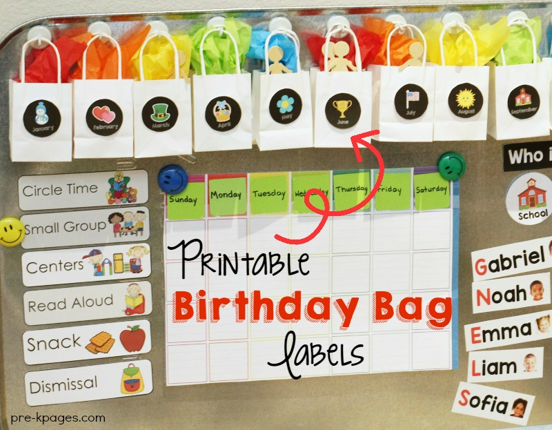 Printable Birthday Bag Labels