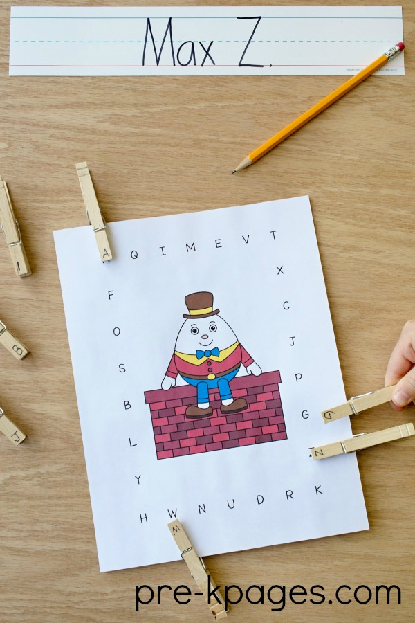 Printable Humpty Dumpty Uppercase Alphabet Matching Game