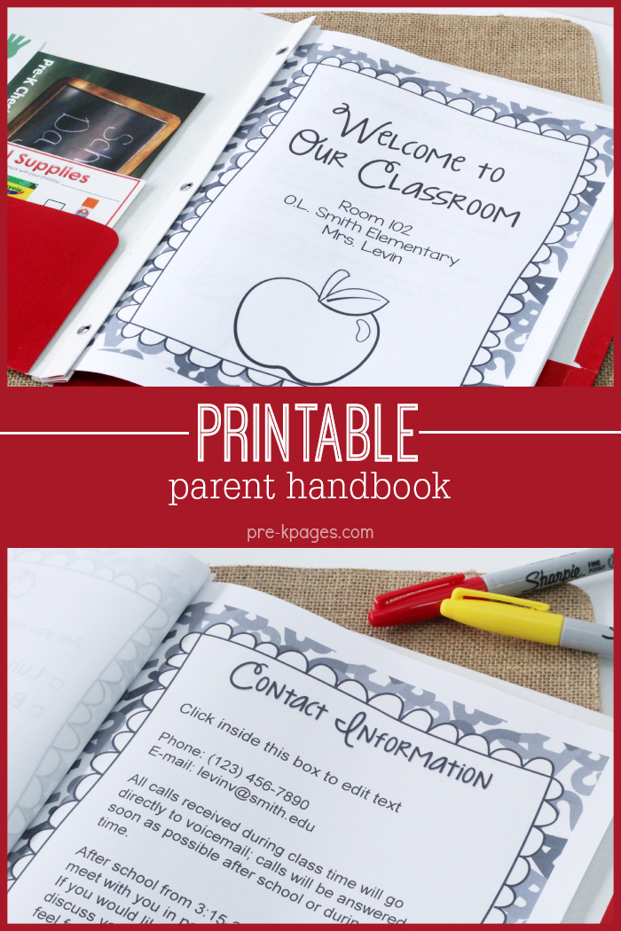 Printable-Parent-Handbook Teacher Parent Newsletter Template on for first grade, free preschool, owl theme,