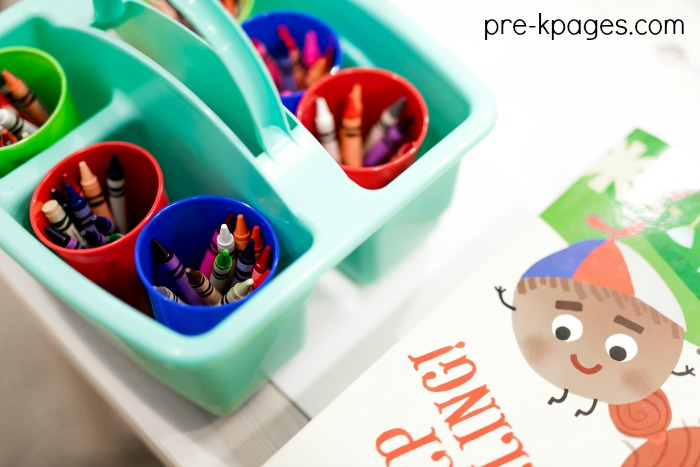 Table Supplies in Caddy for Preschool Classroom