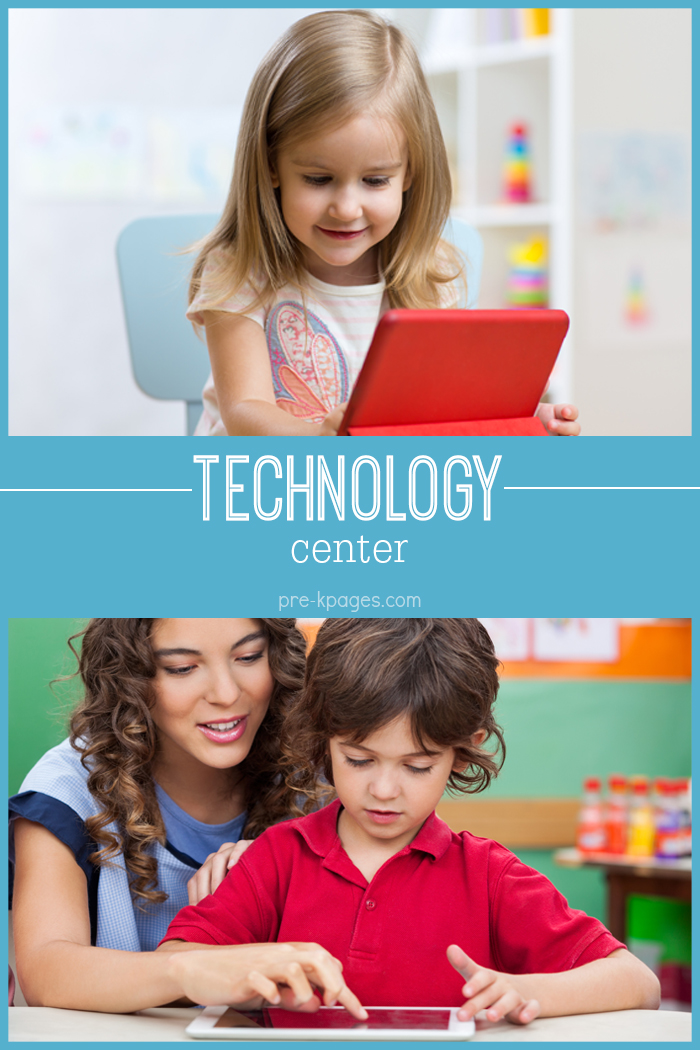 Technology-Center Teaching Kindergarten Using Centers on math activities, pocket chart, rotation board, free math, beginning year, winter math, literacy learning, classroom art,