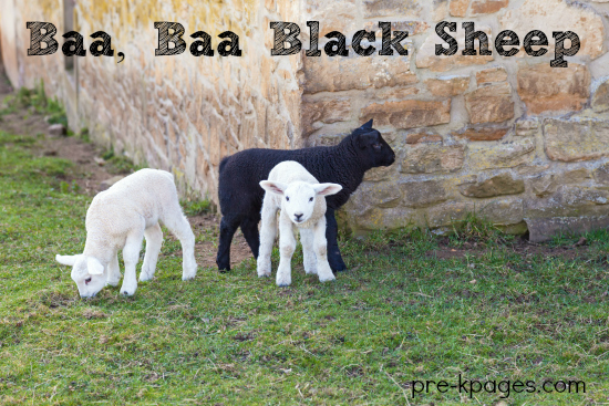 Baa Baa Black Sheep Theme Activities for Preschool and Kindergarten