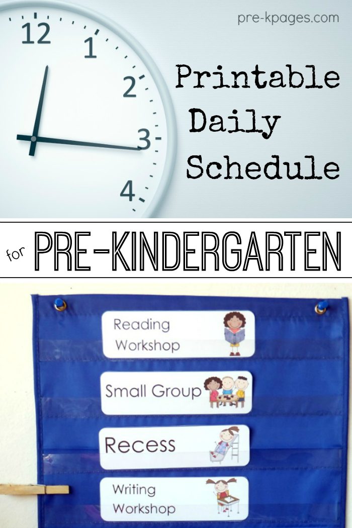 Pre-K Daily Schedule for Full and Half Day Programs