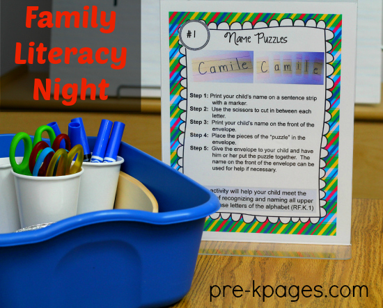 Family Literacy Night Printable Kit for #preschool and #kindergarten