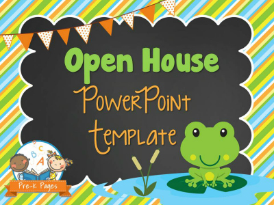 Frog Theme Open House PowerPoint Template for Back to School #preschool #kindergarten