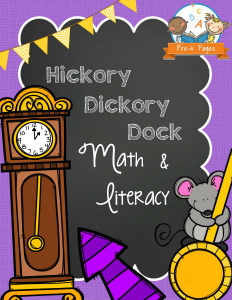 Hickory Dickory Dock Printable Math and Literacy Activities for Preschool