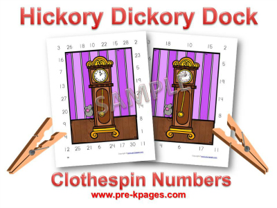 Hickory Dickory Dock Nursery Rhyme Number Activity