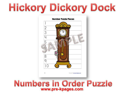 Hickory Dickory Dock Nursery Rhyme Printable Number Puzzle