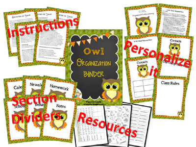 Printable Parent Communication Notebook: OWL theme