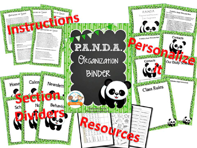 Printable Parent Communication Notebook: PANDA theme