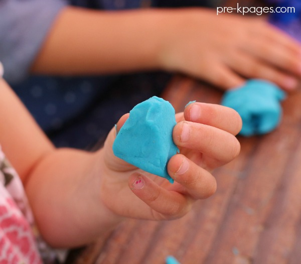 Playing with Play Dough in Preschool
