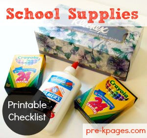 school supply checklist - Pre Kindergarten School Supplies