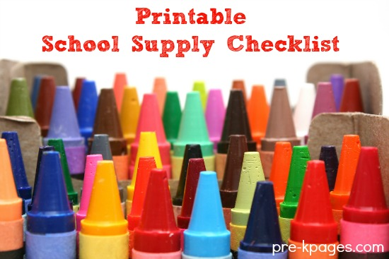 Printable School Supply Checklist for Preschool and Kindergarten Teachers